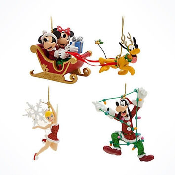 Disney Parks Mickey & Friends Christmas Ornament Set Of 4 New With Box