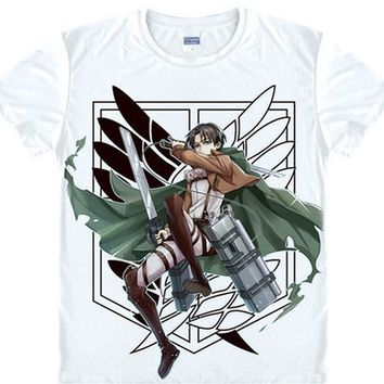 Cool Attack on Titan  Levi Anime Silk Men's/Women's Cosplay Fashion Summer Straight 100% Cotton 2018 New Arrival Men T Shirt New AT_90_11