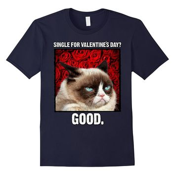 Grumpy Cat Single For Valentine's Day Good Roses T-Shirt