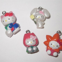 4pc Hello Kitty Charms Lot Flower Costumes Bunny Tulip Sunflower Garden Kawaii Wholesale Jewelry Making Supplies Sanrio 19mm
