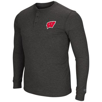 Wisconsin Badgers Men's Long Sleeve Blended Thermal 3 Button Shirt