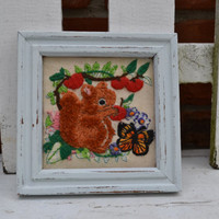 Vintage crewel squirrel with flowers small white frame upcycled kitsch