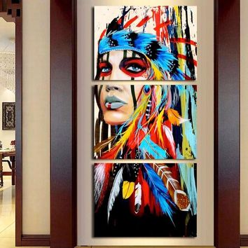 Native American Girl Feathered Women Modern Home Wall Decor Canvas Picture Art HD Print Painting On Canvas Artworks TP-001