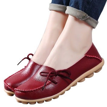 Genuine leather Women shoes mother shoes girls lace-up fashion