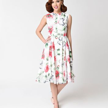 4997deb933c Unique Vintage 1940s White   Pink Floral Sleeveless Olson Swing Dress