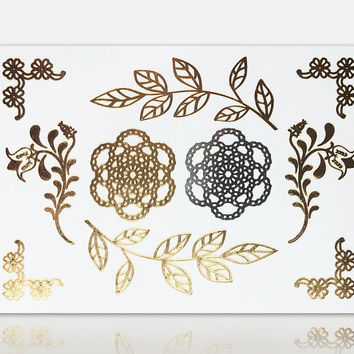 Floral Henna Metallic Temporary Tattoo - Henna Tattoo - Gold Tattoo - Flash Tattoo - Party Tattoo - Festival Jewellery