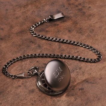 Groomsmen Gift Personalized Gunmetal Pocket Watch (VB775)