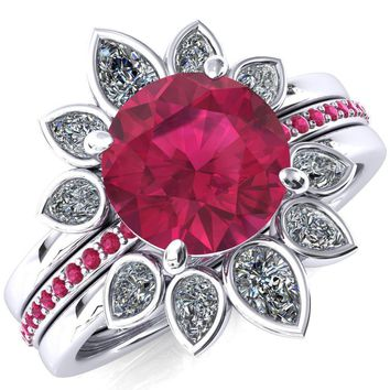 Flora Round Ruby 1/2 Eternity Accent Ruby Ring