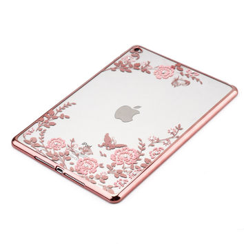 For iPad AIR 2 Soft Electroplated TPU Cover w/Bling Diamond Flower Protective Case for iPad 6 Girls Lady Women Gift
