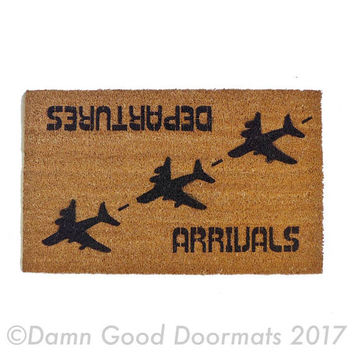 arrivals departures aviation hello goodbye funny door mat, airplane, airline, pilot, welcome mat, doormat humor