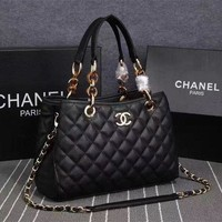 DCCK CHANNEL Black Real Leather High Quality Women Hand Bags