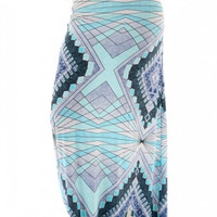 Patterned Maxi Skirt - Blue