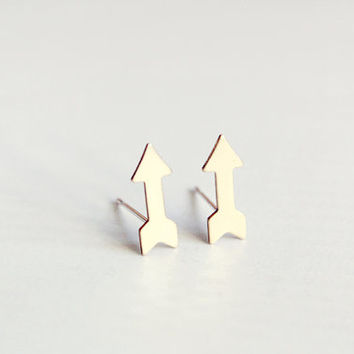 tiny arrow studs - dainty, minimalist brass gold earrings