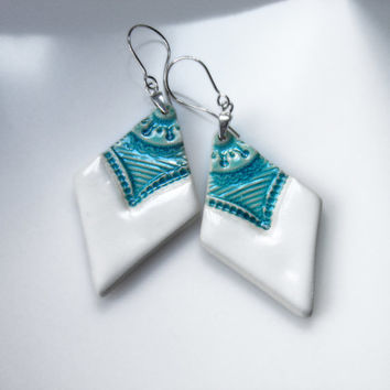 Turquoise earrings Turquoise and white ceramic earrings Big statement dangle earrings on sterling silver 925 hooks Unique ethnic earrings