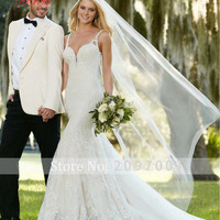Vestido De Noiva New Designer Sexy Backless Elegant Long Lace Mermaid Wedding Dress V-neck Appliques Beading
