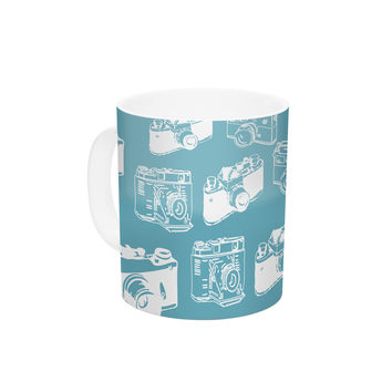 "KESS Original ""Camera Pattern"" G. Blu Ceramic Coffee Mug"