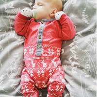 Xmas Baby Girl Knit Sweater Cute Baby Boy Floral Romper Toddler Autumn Jumpsuit Kids Geometric Clothes Outfit