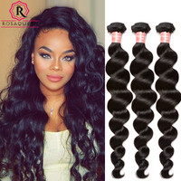 Virgin Hair 3 Bundle Loose Wave, Curly Weave Human Hair Rosa Queen Hair Products