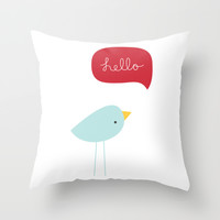 Hello Birdie Throw Pillow by Miss Tiina