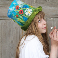 Unique felted top hat, high-hat , with decorative blooming meadow motif. OOAK