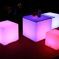LED Rechargeable Light Up Furniture - Indoor Outdoor Use - Waterproof with Remote -)