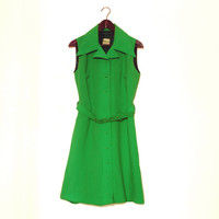 Bright Green Shirt Dress, Vintage Button Down Dress With Belt, Sleeveless, Finnish Design