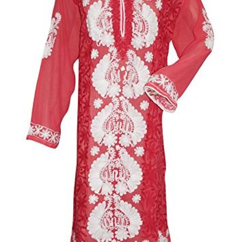 Women's Long Tunic Pink White Floral Embroidered Georgette Caftan Dress xxxl