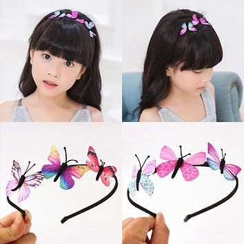 AKWZMLY Girls Hair Band Kids Butterfly Headband Children Party BB Hair Accessories Colorful Handmade Fairy Princess Hairbands