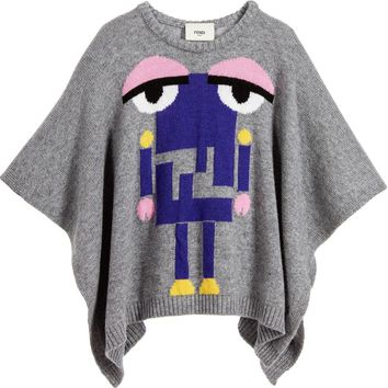 Fendi Girls Cashmere/Wool 'Monster Robot' Poncho