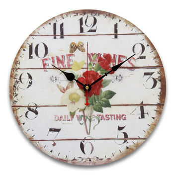34cm Vintage Wall Clocks Antique Flavour Kitchen Retro Style Shabby Chic Home Cafe Decor