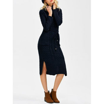 Turtleneck Cable Knit Sweater Dress With Pockets
