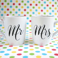 "Hand painted pair of funny mugs with text ""Mr"" & ""Mrs"""