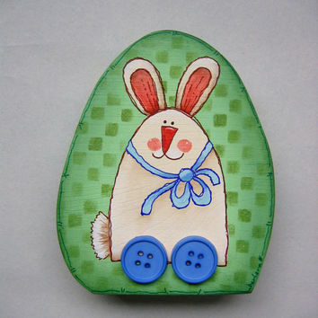 Spring Decoration, Bunny On Wheels, Hand Painted, Egg Shape Wood Shelf Sitter