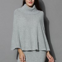 Angora Cape and Skirt Set in Grey