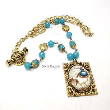 Front closure necklace, bird art cameo necklace, vintage setting and blue jade, antiqued gold jewelry, art nouveau jewelry, vintage style