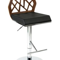 Sophia Adjustable Swivel Bar/Counter Stool in American Walnut and Black with Chrome Base