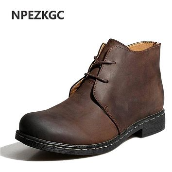 NPEZKGC British Style Vintage Men Boots Crazy Genuine Leather Martin Men Autumn Boots Water Proof Work Winter Ankle Boots Shoes