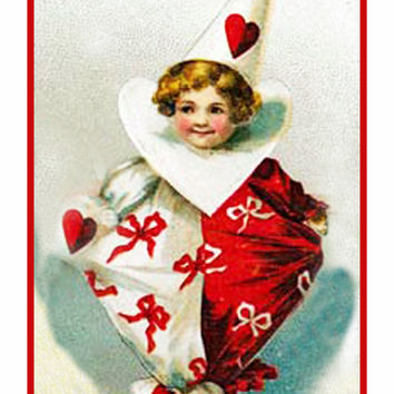 Valentine Cherub Red and White Hearts Counted Cross Stitch or Counted Needlepoint Pattern