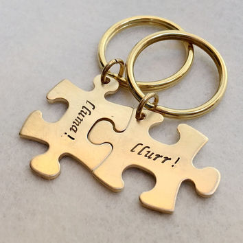 Couples keychain, couples jewelry gift for couples, Puzzle keychain Gold couples keyring, personalized couples keychain, His hers Gift ideas