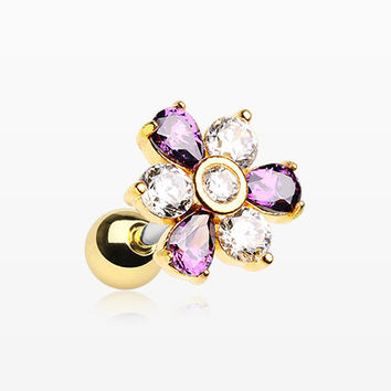 Golden Radiant Sparkle Flower Cartilage Tragus Earring