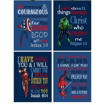 Superhero Christian Nursery Decor Set of 4 Prints - Captain America, Hulk, Ironman and Spiderman