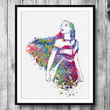 Instant Download Pocahontas Disney Princess Watercolor Art Digital Printable JPEG Wall Art For Girls Art Wall Decor