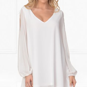 Indie XO Everlasting Enchantment White V Neck Chiffon Long Open Split Slit Sleeve Flowy Loose Shift Mini Dress