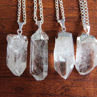 Silver Dipped Quartz Point Necklace