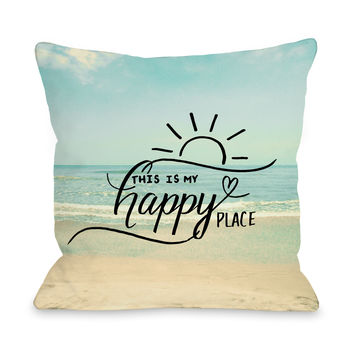 My Happy Place Beach - Multi  Outdoor Throw Pillow by OneBellaCasa.com