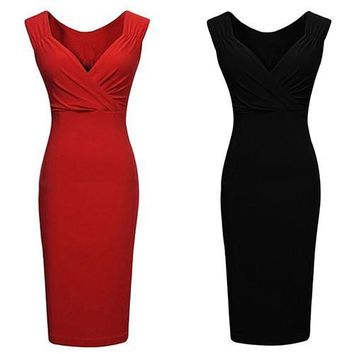 Fashion New Women's Sexy V-neck Low-cut Sleeveless Bodycon Knee-length Vest Pencil Dress