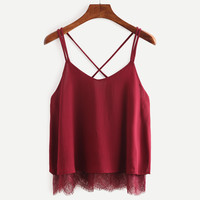 New Arrival Plain Wine Red Spaghetti Strap Lace Chiffon Camisole Cami Tank Top Korean 2017 Summer Female Blusa Cropped Feminino