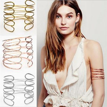 Women Gothic Jewelry Trendy Alloy Geometric Armband Upper Arm Cuff Bracelets & Bangles Exaggerated Party Accessories