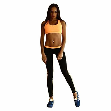 Women Yoga Set 1Pcs Sleeveless Yoga Top+ Slim Long Yoga  Pants Tracksuit Pants Sets Sportswear #E5