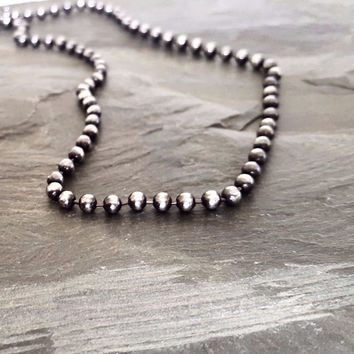 Dark Oxidized STERLING SILVER Bead Chain Necklace